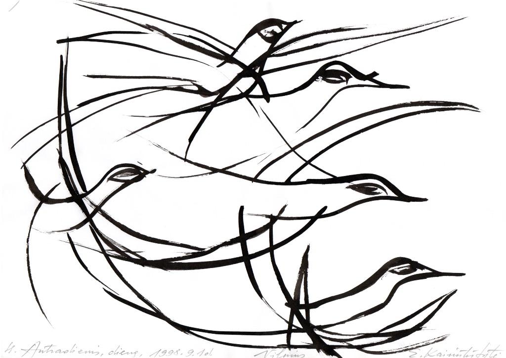Nupiešti paukščiai.
