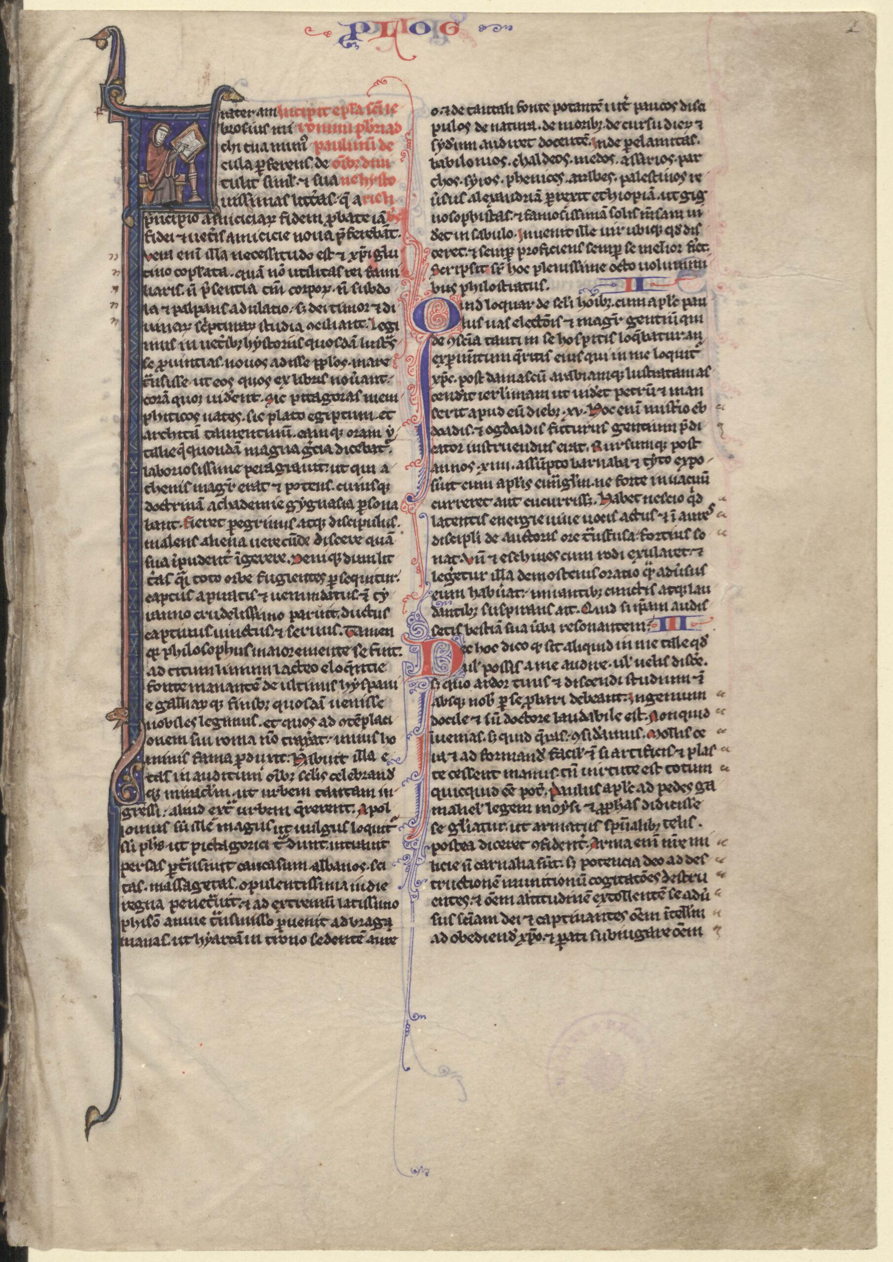 XIII a. rankraštinės šv. Jeronimo Biblijos pirmasis puslapis