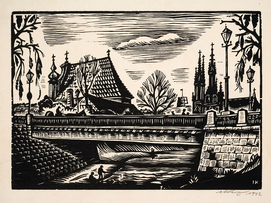 Tiltas per Vilnelę. Fone – bažnyčios.