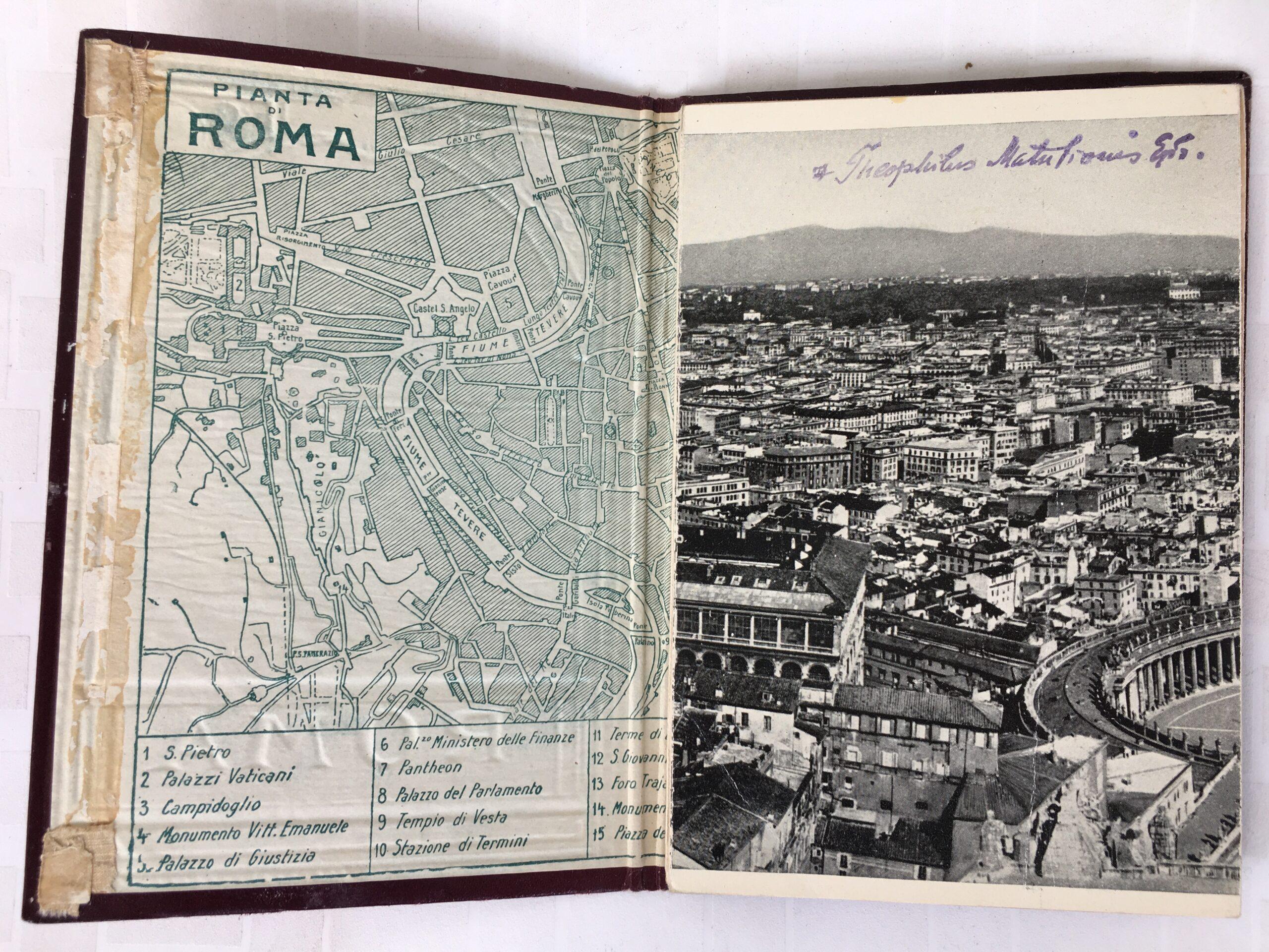 Romos žemėlapis, nuotrauka ir Teofiliaus Matulionio signatūra.