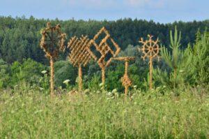 Baltų ženklai miško fone