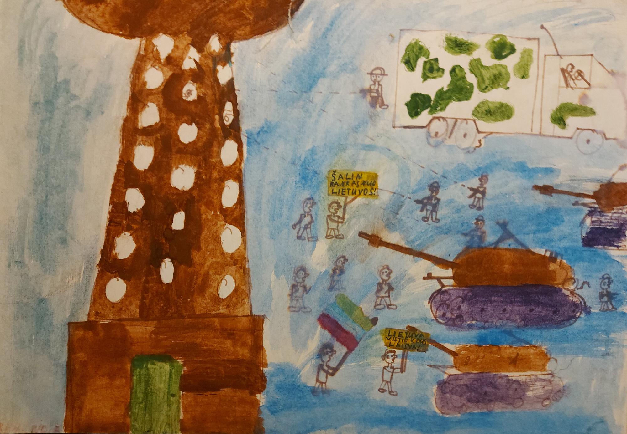 Vaiko piešinys: bokštas, gynėjai ir tankai.