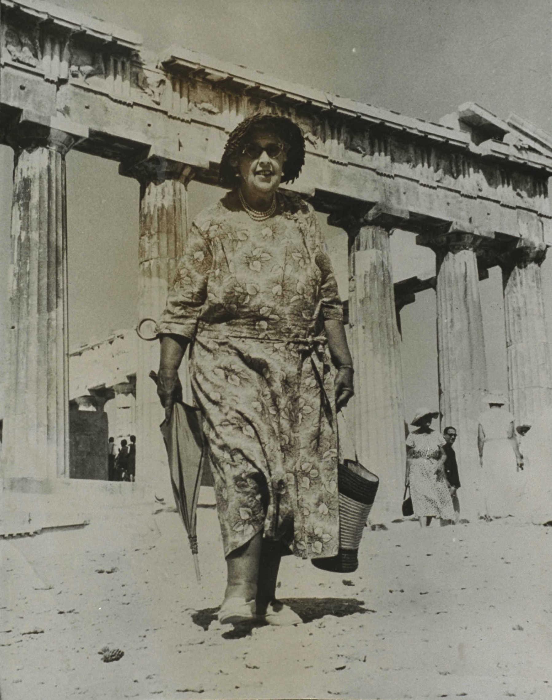 Stovi Akropolio kolonų fone.