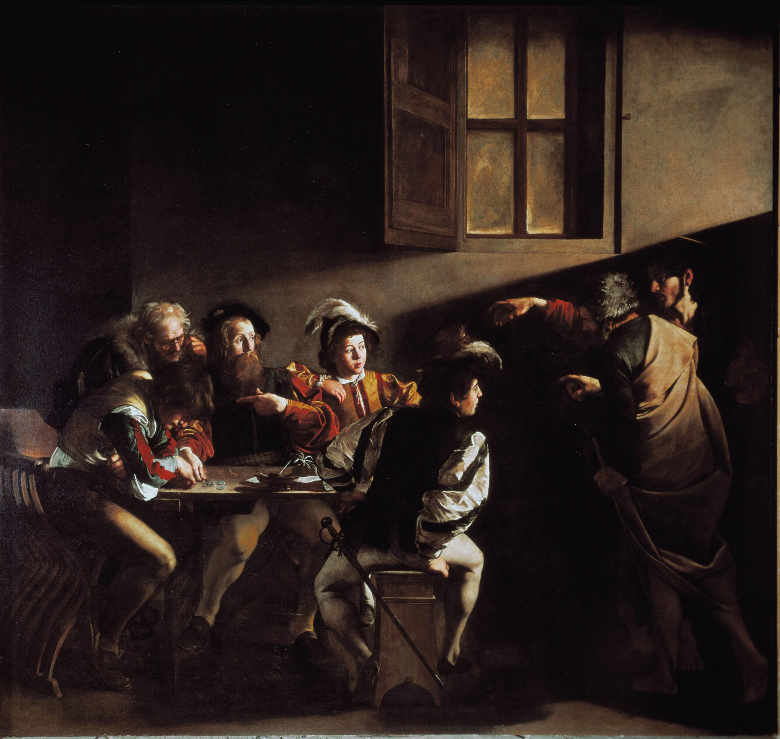 Šv. Mato pašaukimas (1599–1600), Caravaggio (1571–1610), Prancūzų Šv. Liudviko bažnyčia, Contarelli koplyčia, Roma, Italija. Luisa Ricciarini Leemage nuotrauka