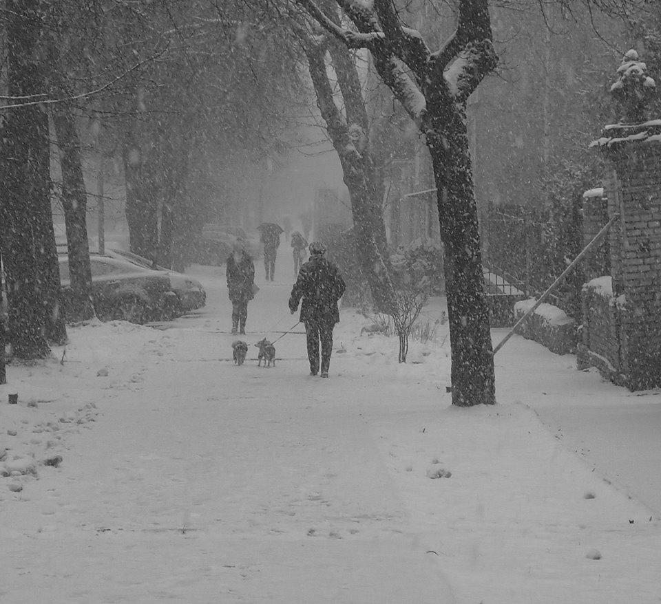 Sninga, žmonės gatvėje.