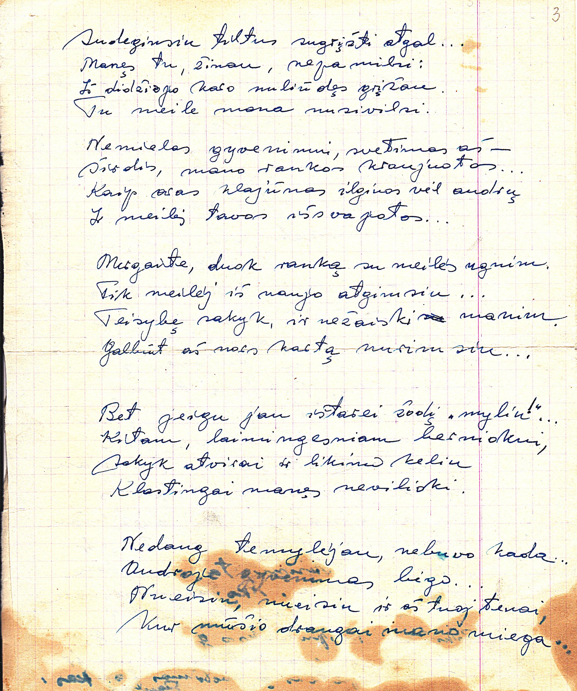 Eilėraščio rankraštis.