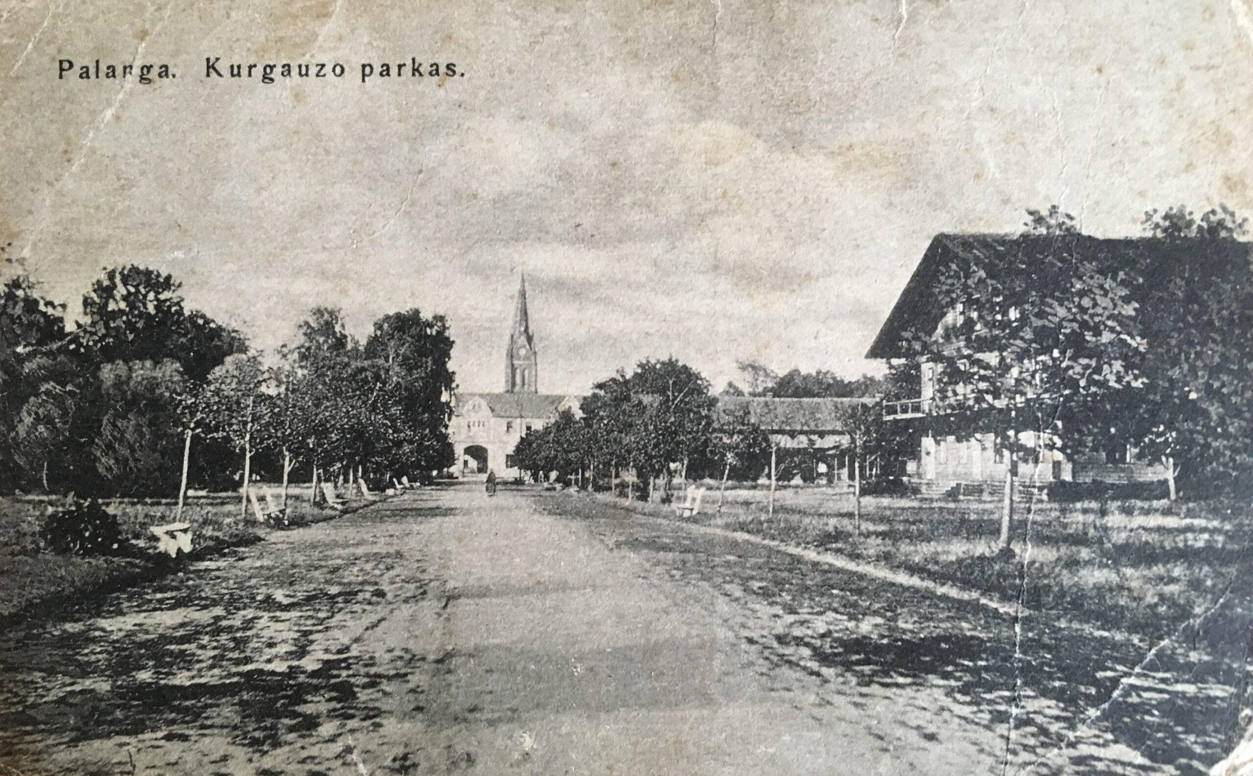 Palangos kurhauzo parkas XX a. pradžioje. Onos Vitkauskytės knygyno išleistas atvirukas
