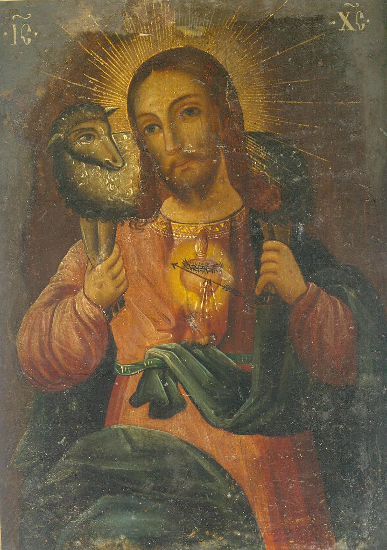 Jėzus su avinėliu.